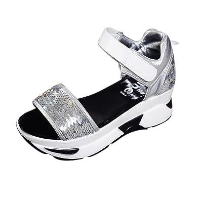 bescita Damen Sommer Sandalen Schuhe Peep-Toe Hohe Schuhe Römer Sandalen  Damen Flip Flops mit