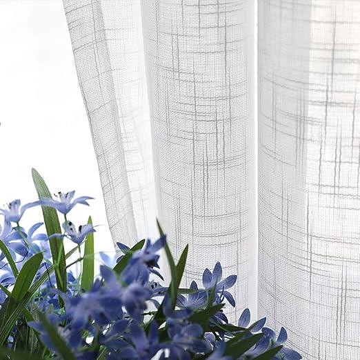 FF&XX Algodón Lino Color Puro Cortinas,Grueso Semi-Pura Cortinas,Blanco Cortinas,visillos,para Balcón Salón Blanco W:200xh:270cm: Amazon.es: Hogar