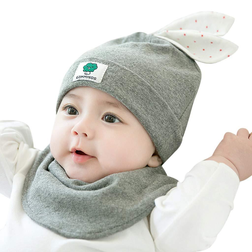 aedcb4cec88 Baby Hat Bibs Set Coffee Zimuuy Kids Baby Newborn Girl Winter Warm Cotton  Rabbit Ear Cap ...