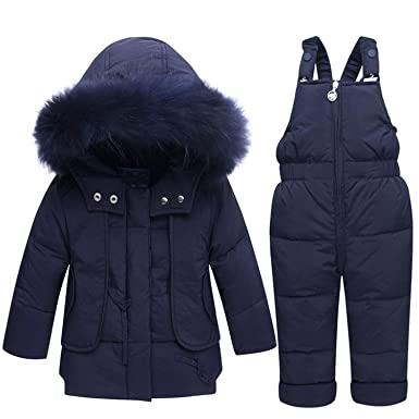 ad9283093021ca Amazon.com  Mandaartins Winter Warm Baby Duck Down Jacket for Boy Girl  Children Clothing Set Coat Kids Clothes Warm Fur Hooded Outerwear  Clothing