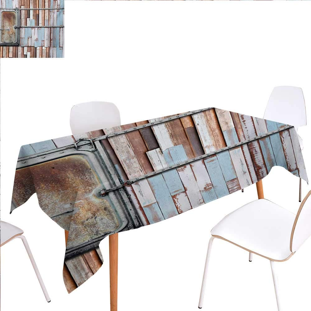 """familytaste Wooden Dinning Tabletop Decoration Rustic Colored Rusty Planks with Old Ship Door Marine Themed Artwork Print Table Cover for Kitchen 52""""x70"""" Blue Brown and White"""
