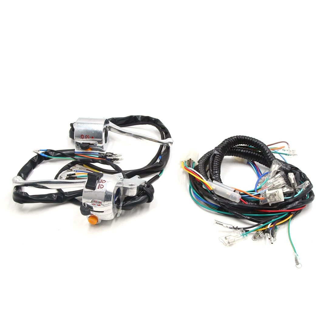 uxcell Motorcycle Handlebar Turn Signal Light Control Switch Set for Honda JH70 w Wire Harness