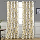 DriftAway Leah Abstract Floral Blossom Ink Painting Room Darkening/Thermal Insulated Grommet Unlined Window Curtains, Set of Two Panels, each size 52″x84″ (Yellow/Silver/Gray)