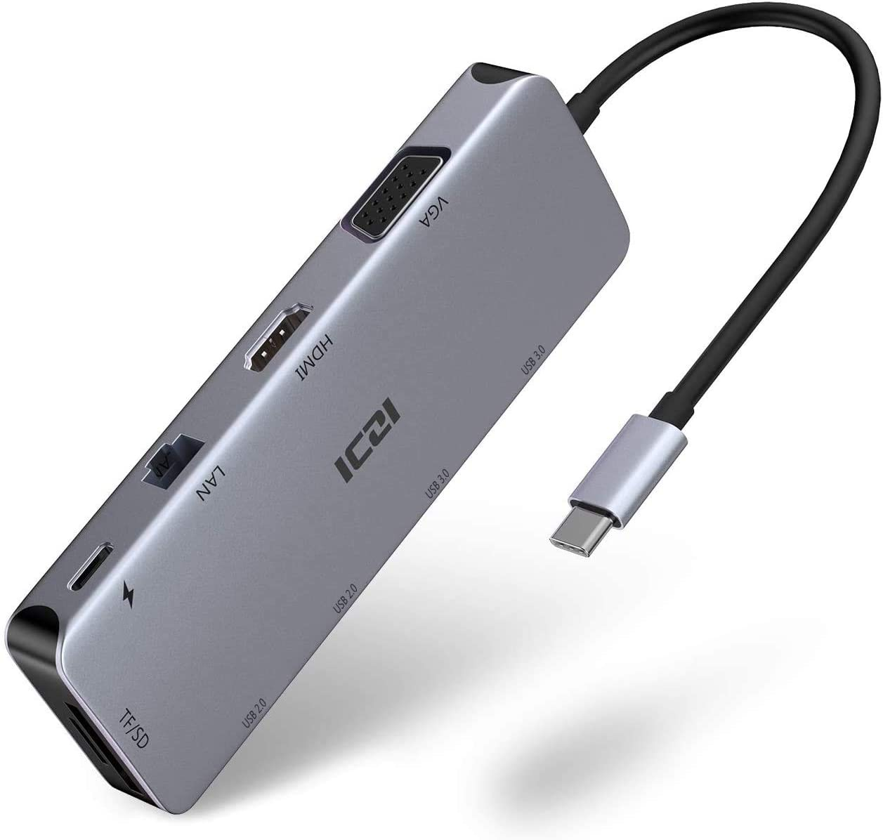 ICZI Hub USB C Thunderbolt 3 10 en 1 de Aluminio Hub USB Tipo C a 4 USB HDMI 4K Dex VGA RJ45 Ethernet Lector de Tarjeta SD TF USB-C Power Delivery Docking Station para Macbook Pro etc