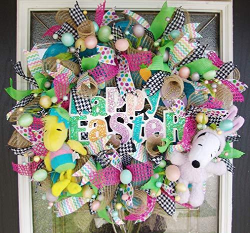 Snoopy Woodstock Happy Easter Deco Mesh Front Door Wreath, Peanuts Collectible, Egg Decoration, Porch Patio Decor, Spring, Houndstooth, Ribbon (Door Easter Ideas Wreath)