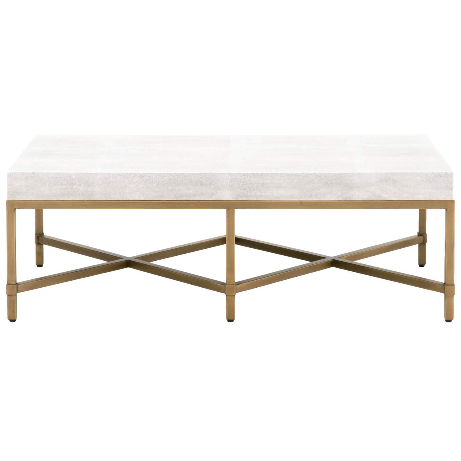 Amazon com star international furniture strand shagreen coffee table in white shagreen and brushed gold kitchen dining