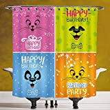 Polyester Shower Curtain 3.0 by SCOCICI [ Birthday Decorations for Kids,Cartoon Animals Cat Panda Face Party Items,Pink Orange Blue and Green ] Waterproof and Mildewproof Polyester Fabric Bath Curtain