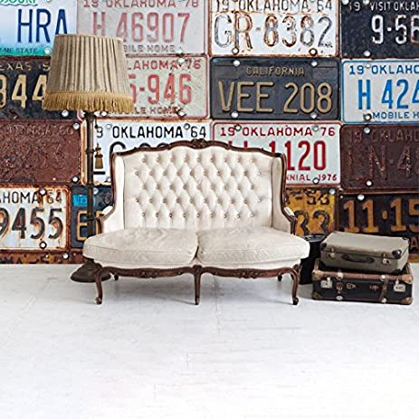 Vintage License Plate Wall Mural Retro American Photo Wallpaper Transport  Decor Available In 8 Sizes X