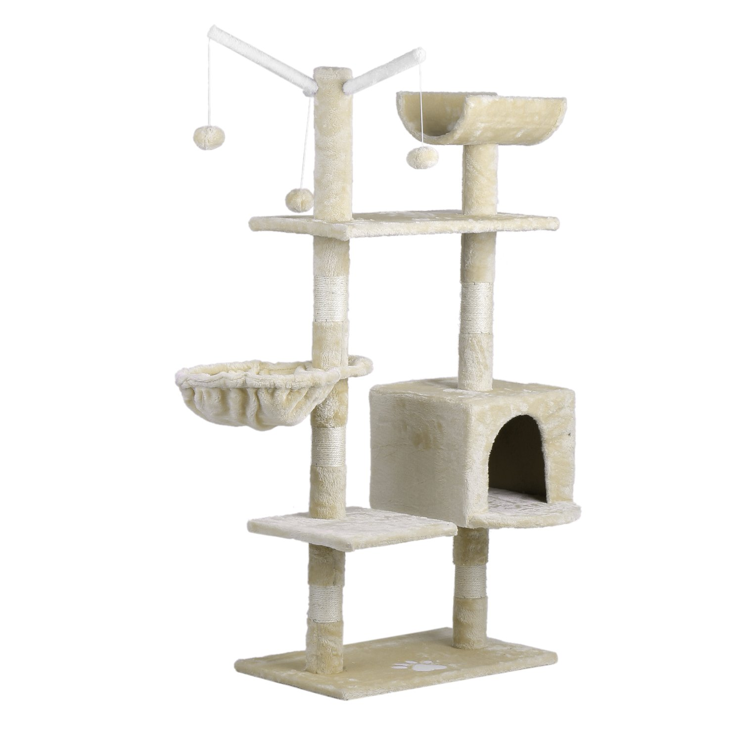 Happystore999 Cat'S Tree Tower Condo Hammock Scratcher Furniture Cat Jumping Toy Premium Three-Layers Pets Kitten House Jumping Toys Beige