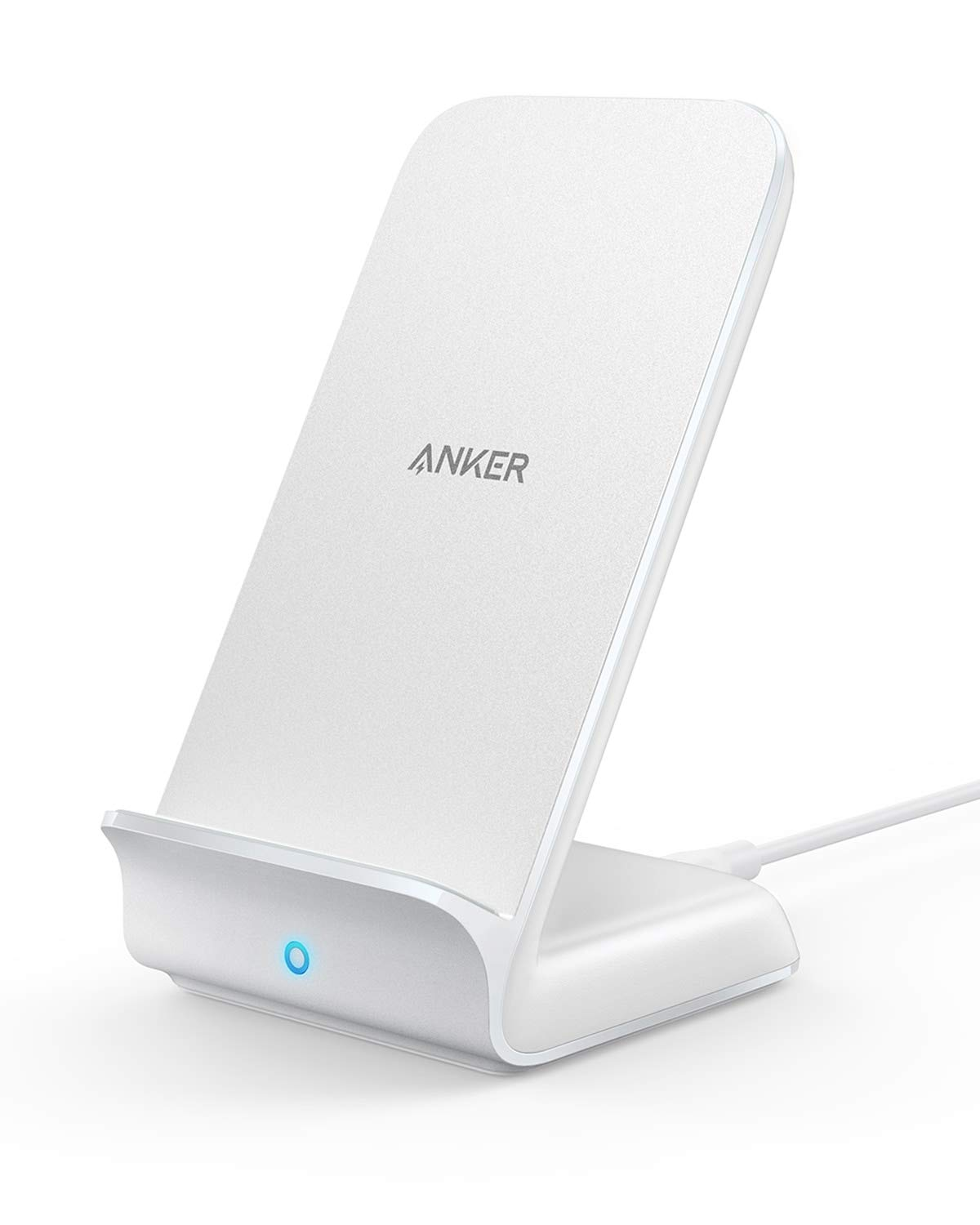 Anker PowerWave Fast Wireless Charger Stand, Qi-Certified, 7.5W for iPhone XR XS Max XS X 8/8 Plus, 10W for Galaxy S10 S9 S8, Note 10 Note 9, and 5W for All Qi-Enabled Phones (No AC Adapter) - White