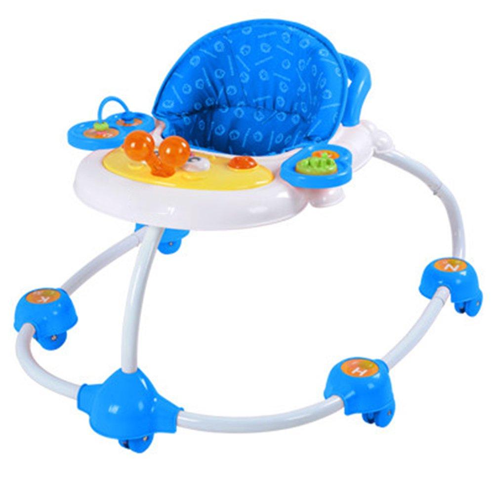 LVZAIXI ベビー幼児ポータブルシットトゥスタンドラーニングウォーカー車輪付き折り畳み式調節可能な高さ ( 色 : 青 ) B07CQXFRNQ 青 青
