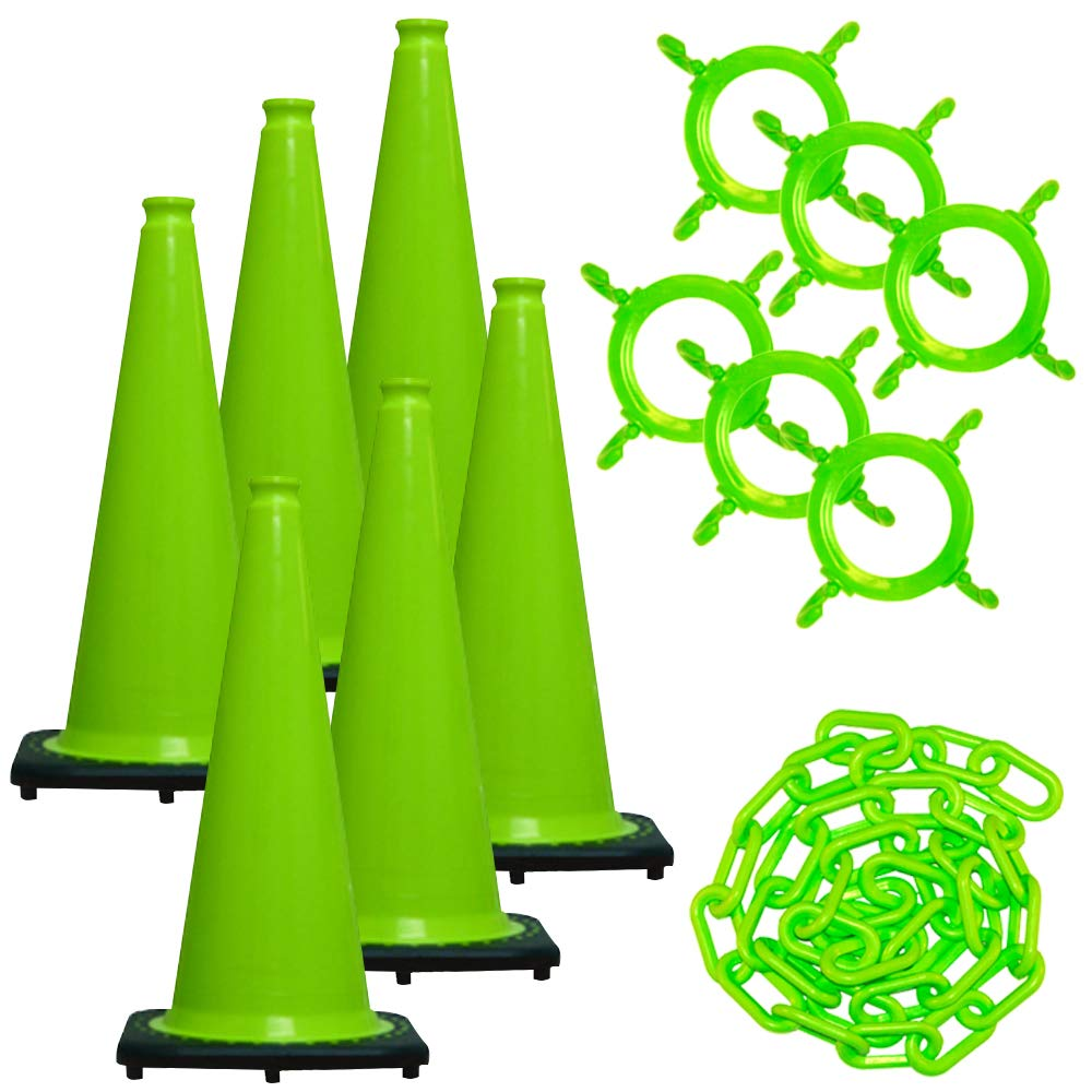Mr. Chain Traffic Cone and Chain Kit, Safety Green, 28-Inch Height (93214-6) by Mr. Chain