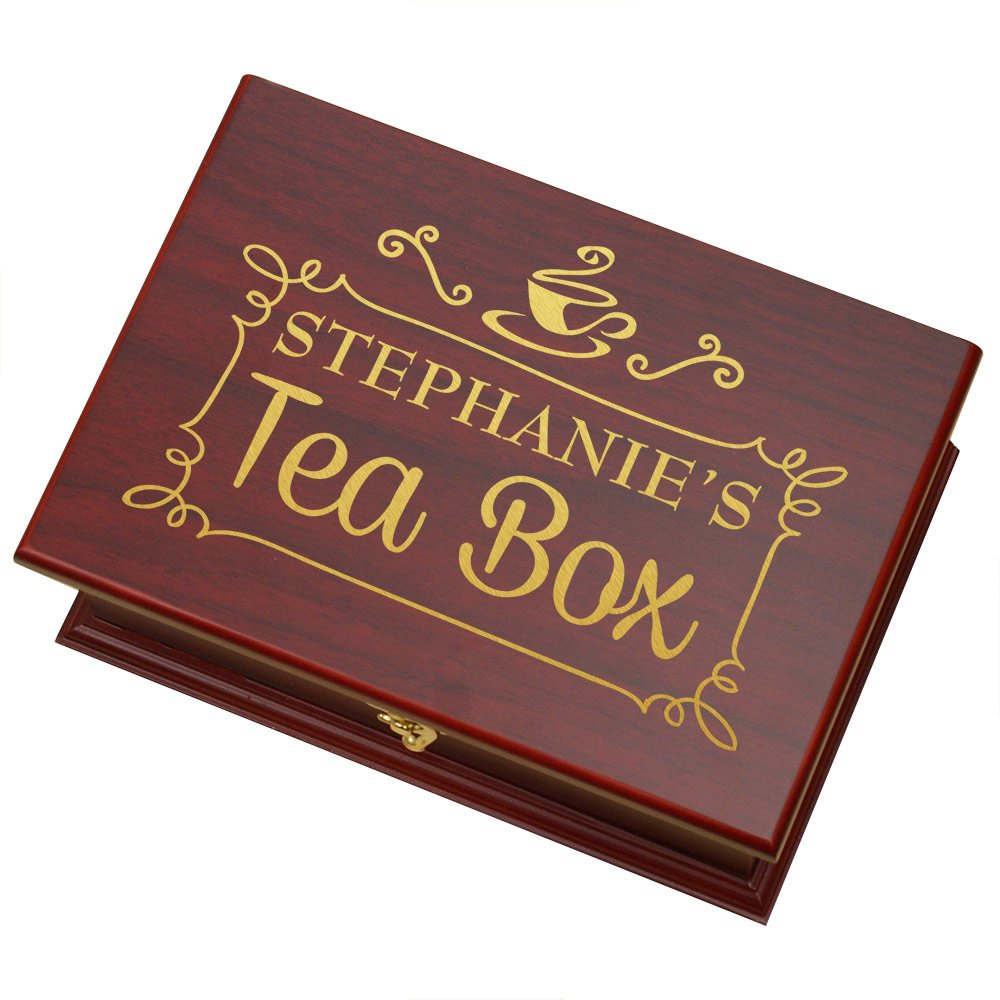GiftsForYouNow Rosewood Personalized Tea Box, Engraved, 9'' x 6.25'' x 3.75''