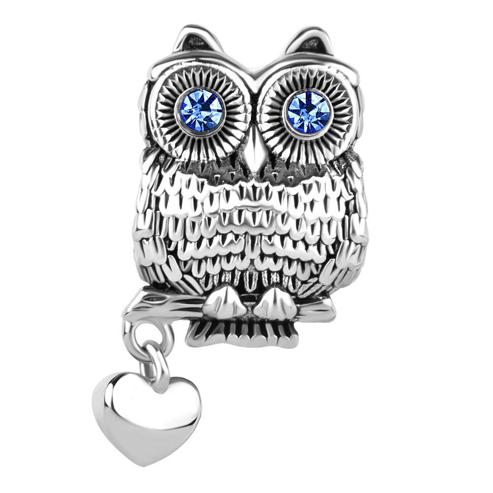 LilyJewelry Wise as Owl with Heart Animal Lovers Charm Bead for Bracelet
