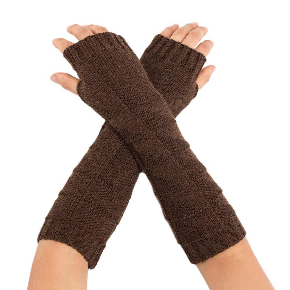 Womens Winter Knit Long Fingerless Gloves Thumbhole Arm Warmers Mittens Over Elbow Long Fingerless Gloves Mittens