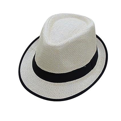 cb32a0580d568b Xlala Unisex Cap Men Women Beach Straw Hat Jazz Panama Hat Gangster Cap Hat  Side Color