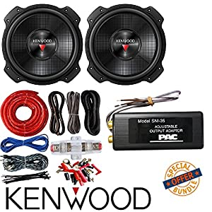 "2x Kenwood KFC-W3016PS 2000 Watt 12"" 4 ohm Subwoofer W/ PAC SNI-35 Variable LOC Line Out Converter And SoundBox Connected 4 Gauge Amp Kit Amplifier Install Wiring"