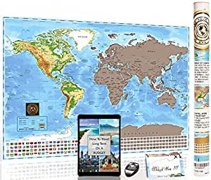 Amazon deluxe scratch off world map mark your trips premium share facebook twitter pinterest gumiabroncs Image collections