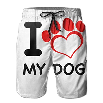 5a2e83b0be 2017 New I Love My Dog Paw Men Beach Shorts Casual Sea Board Swim Trunks