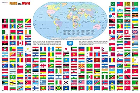 Amazon flags of the world wall map poster 36x24 rolled flags of the world wall map poster 36quotx24quot gumiabroncs Image collections