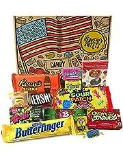 Kleiner Amerikanische Süßigkeiten Geschenkkorb von Heavenly Sweets | Süßigkeiten aus den USA | Auswahl beinhaltet Reeses, Jelly Belly, Jolly Rancher | 13 Produkte in einer tollen retro Geschenkebox