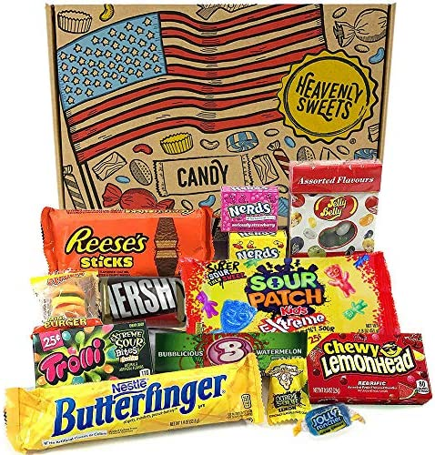 Heavenly Cesta de Dulces y Chocolate Americanos - Set de Marcas Clásicas de USA, Surtidos Originales, Regalo Perfecto para Niños, Adulto - Cumpleaños, Navidad - 13 Dulces, Pack de 25x18x2,5cm: Amazon.es: Alimentación