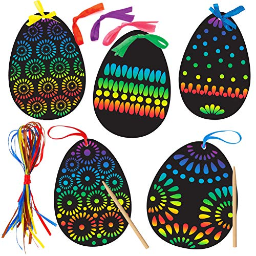 Koogel 36 Pcs Easter Egg Scratch Art Set, Rainbow Scratch Art Mini Notes with 36 Pcs Colorful Ribbon 12 Pcs Wooden Stick Scratch Tool Great Gift for Kids Party Favor