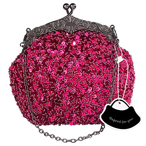 Sequin Purse (Bagood Women's Vintage Evening Bags Clutches Purses Handbag Shoulder Bag Seed Beaded Sequin Flower for Wedding Bridal Prom Party Wine)