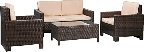 FDW Furniture 4 Piece Patio Sectional Sofa Outdoor Rattan Chair Conversation Sets Cushions Seat Lawn Balcony Poolside or Backyard Wicker