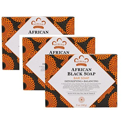 抹消小売分散【海外直送品】【3個セット】Nubian Heritage, ヌビアンヘリテージ アフリカンブラックソープバー、5 oz (141 g)