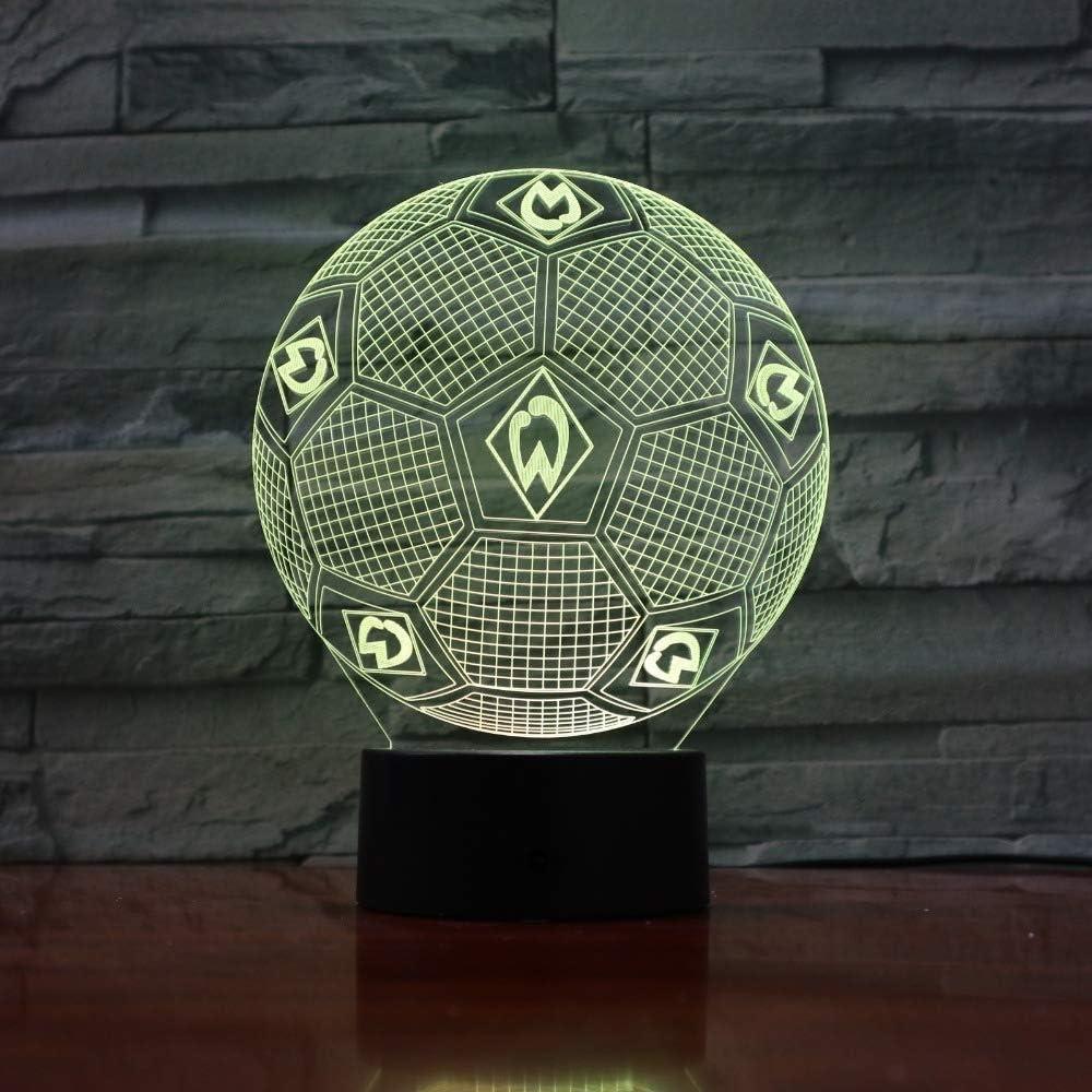 Luz de la noche 3 luces fantasmas de color luz de noche de fútbol lámpara de mesa 3D luces de futbolín para regalos de fanáticos: Amazon.es: Iluminación