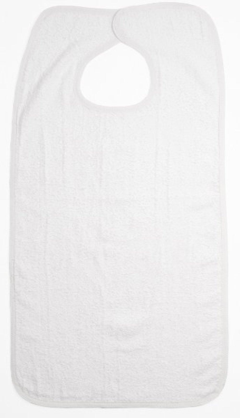 3-Pack - Blue or White Option - 100% Cotton Reusable Terry Adult Bib - Patient Bib (White )