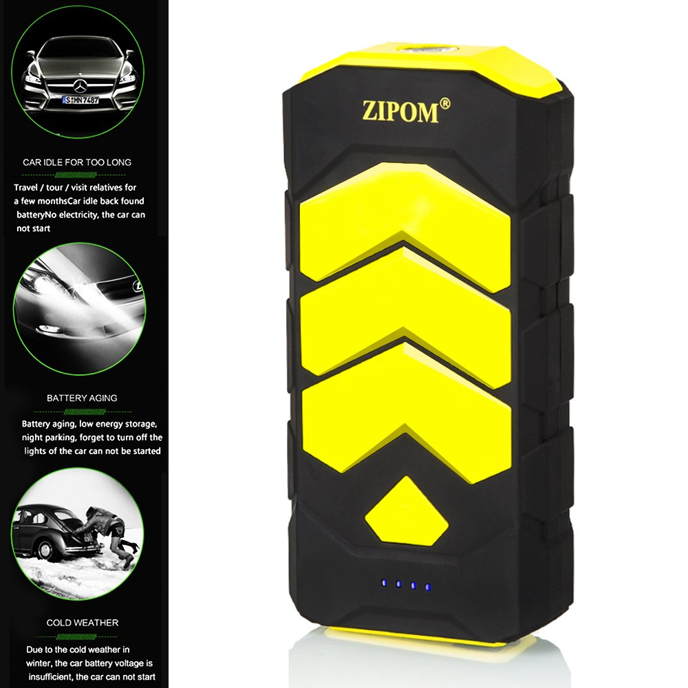 Zipom Car Jump Starter Power Bank, 600A Peak Current Jump Leads as 12000mAh Battery Pack 4 USB Port LED Flashlight Power Bank Phone Tablet Camera Automotive Motorcycle Laptop PC