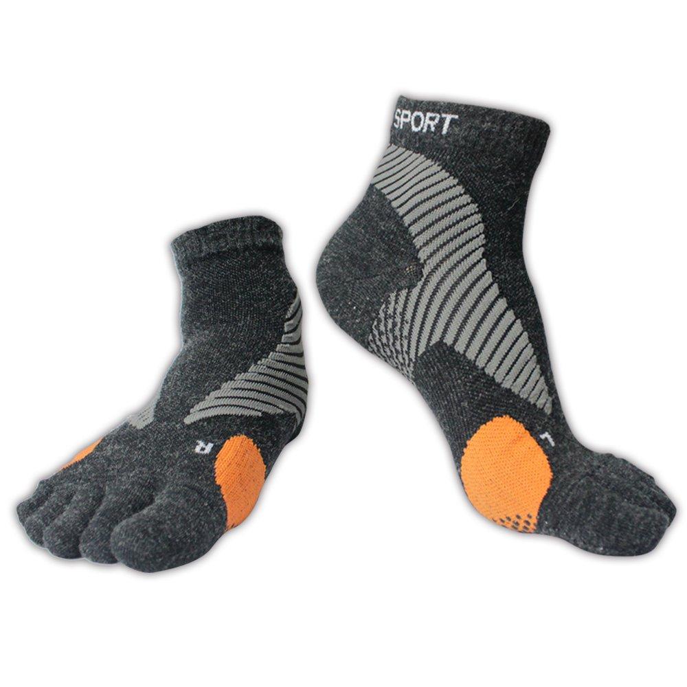 Merino Wool Non-Slip Toe Socks | Running, Hiking, Cycling | Comfortable, Breathable & Warm | Mens & Womens (M-L, Black)