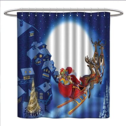 Jinguizi Santa Shower Curtains Fabric Extra Long Reindeer Carriage Flying Over Town Houses In Midnight Sky