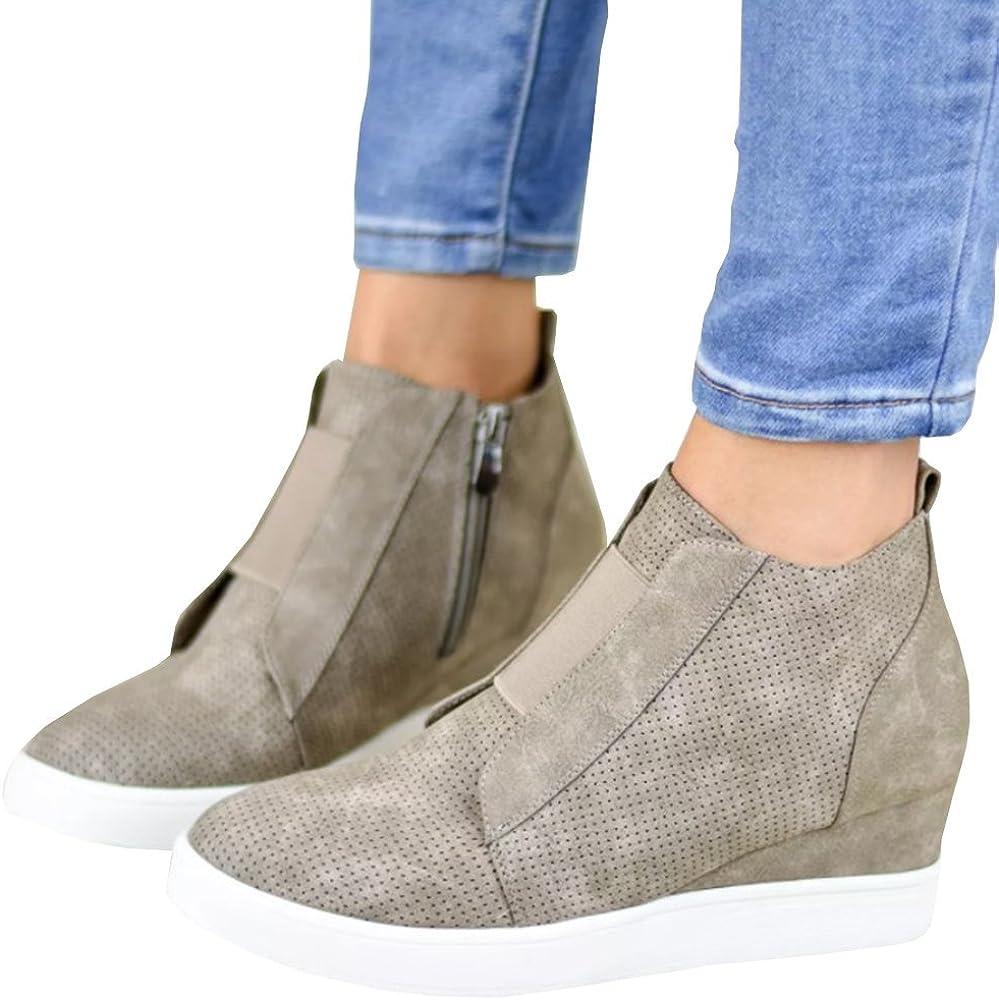 0d264ba656314 Women's High Top Wedge Sneakers Side Zip Platform Sport Shoes