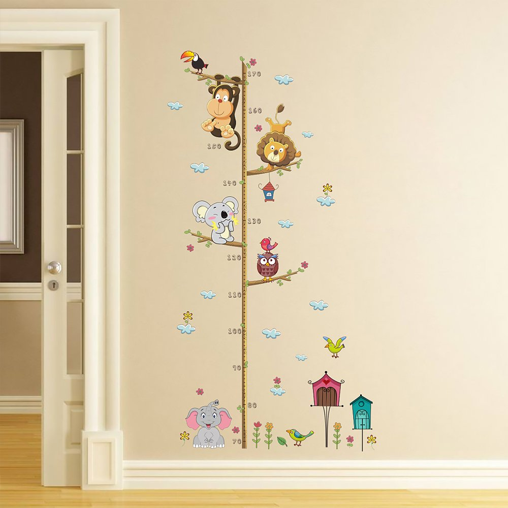 HOBOYER Removable Height Chart for Kids,Animals Wall Stickers, PVC Waterproof Peel and Stick Wall Decals for Kids,Adults,Living Room & Bedroom,Office (No Frame Include)