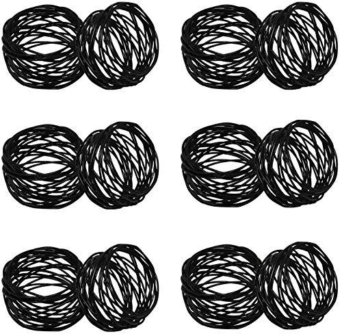 (SKAVIJ Metal Mesh Napkin Rings Set for Dining Table Decoration (Dia-2 Inch, Pack of 12, Black) )