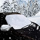 Thickened Windshield Snow Cover & Sun Shade Protector, with Mirror Protective Covers - Keeps Ice, Frost & Snow Off Fits Most of Car & SUVs (58''x 38'') PowerTiger