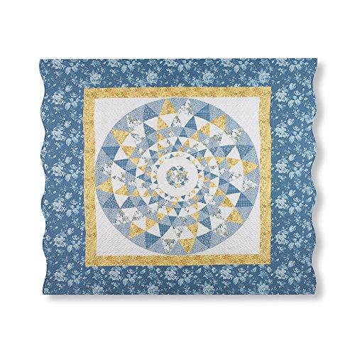 Collections Etc Mattie Medallion Patchwork Blue & Yellow Floral Pillow Sham