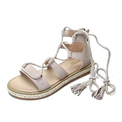design de qualité 8a773 b12d4 Femmes Sandales Plates pour L'été en Cuir Lacets Sangles ...