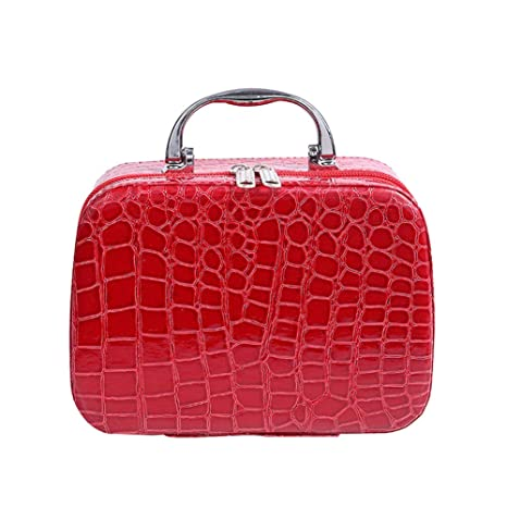 Bjduck99 Beauty Makeup Cosmetics Zipper Organizer Box Travel Toiletry Case Storage Bag (Red) by Bjduck99