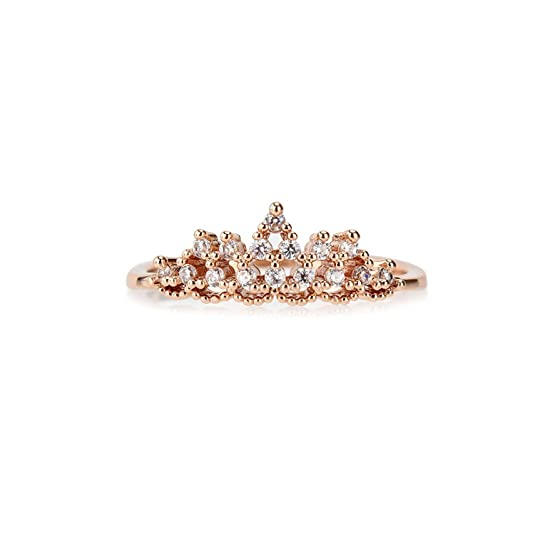 OMNFAS Rings Women Cubic Zirconia Princess Crown Ring Girl Gift Wedding Engagement