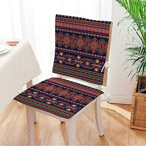 (Miki home Chair Cushion (Set of 2) Striped Seamless Pattern Floral Wallpaper Includes Seat and Backrest Mat:W17 x H17/Backrest:W17 x H36)