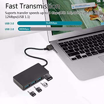 4 Port USB 3.0 Hub 5Gbps Portable Compact for PC Mac Laptop Notebook Desktop