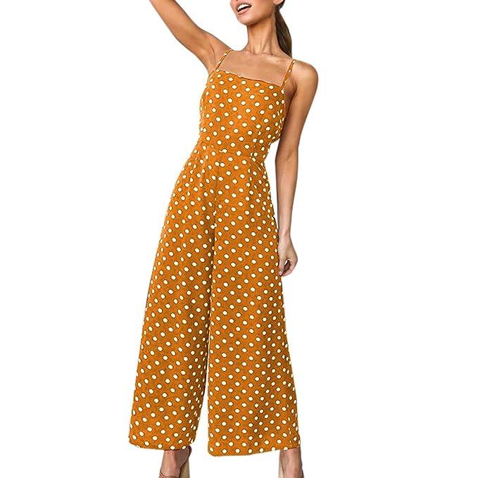 8b37dc2633a FRAUIT Damen Elegant Polka Dot Jumpsuit Wide Leg Pants Long Jumpsuit  Backless Strappy Playsuit Lose Bequem