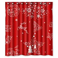"GCKG Xmas Merry Christmas Reindeer Red Shower Curtain 66"" x 72"" Waterproof Polyester Fabric Shower Curtain"
