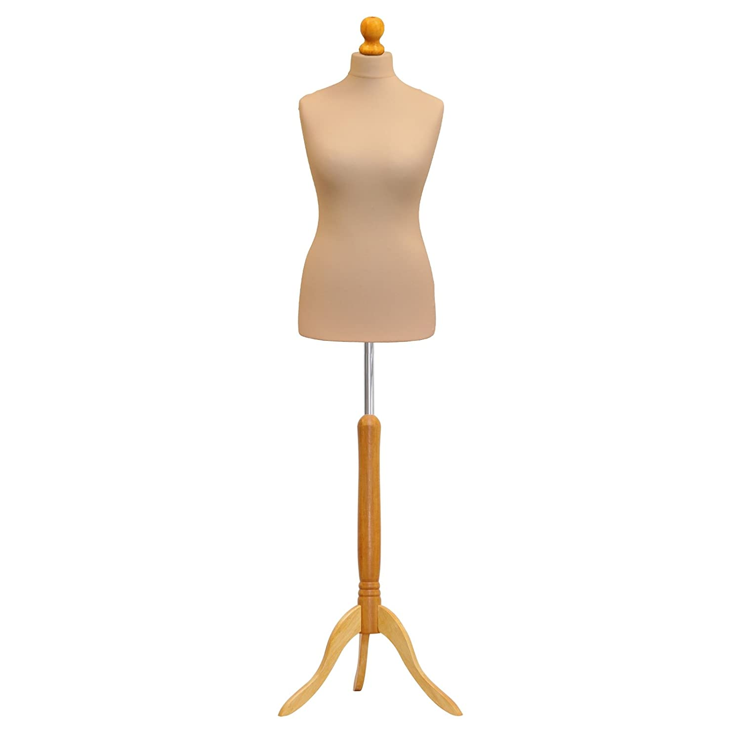 Female Tailor Dummy Cream Size 10/12 Dressmakers Dummies Fashion Students Display Bust With A Light Wood Base ANKMARKETING LTD