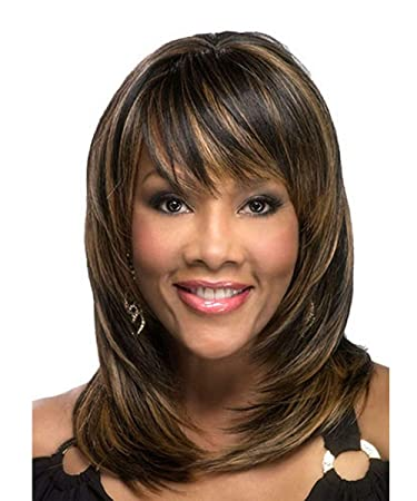 Amazon Com Milisi Brown Medium Length Wigs For African American Women Natural Straight Synthetic Hair Bangs Wigs Daily Party Full Wig With Wig Cap Dark Brown Mls010 Beauty