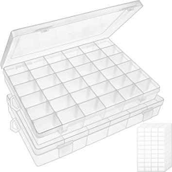 Amazon Com Outuxed 2pack 36 Grids Clear Plastic Organizer Box Storage Container Jewelry Box With Adjustable Dividers For Beads Art Diy Crafts Jewelry Fishing Tackles With 5 Sheets Label Stickers Home Improvement